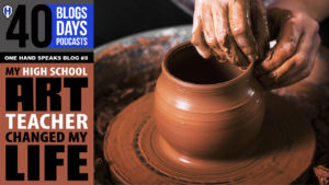 "An closeup image of someone ""throwing a clay pot"" on a potter's wheel."