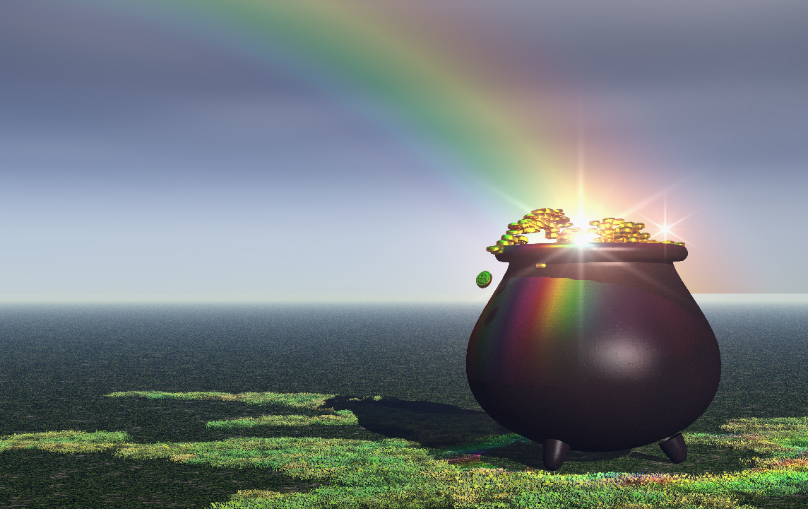 pot of gold at the end of a rainbow, rainbow, blog, myth