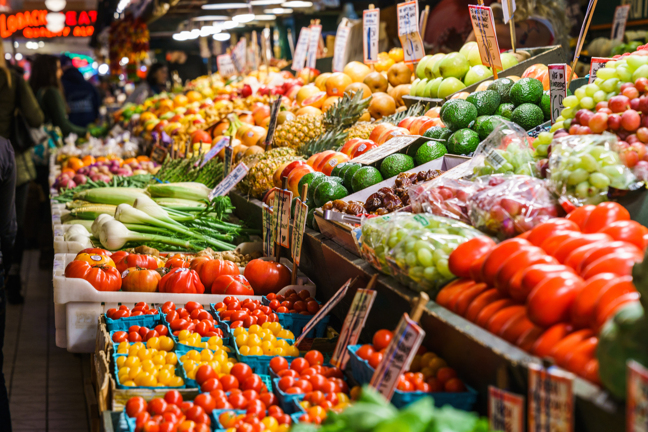 pike place market, vegetable, produce, seattle