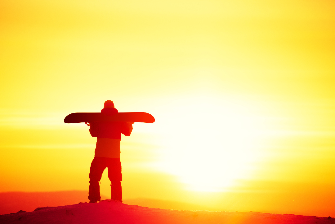 sunset, snowboarder, beauty