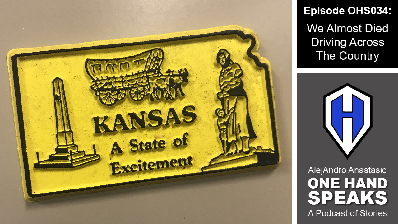 "An image of a yellow refrigerator magnet in the Shape of the State of Kansas. It reads, ""Kansas, A State of Excitement."""